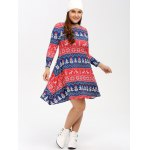 cheap Christmas Snowman Print Swing Dress