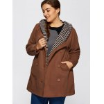Double-Breasted Striped Spliced Hooded Peacoat photo