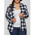 Plus Size Plaid Shirt with Pocket