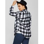 Plus Size Plaid Shirt with Pocket for sale