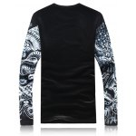 cheap Long Sleeve 3D Animal Printed Flocking T-Shirt