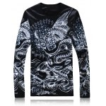 Long Sleeve 3D Animal Printed Flocking T-Shirt