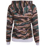 cheap Pullover Camouflage Print Panel Hoodie