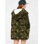 Camo Fuzzy Loose Hooded Coat for sale