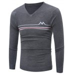 V Neck Striped Selvedge Embellished Knitting Sweater