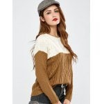 cheap Color Block Pullover Cable Sweater