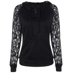 Lace Insert Pocket Design Hoodie