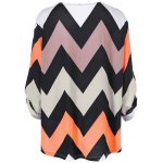 Plus Size Zigzag Adjustable Sleeve Tee for sale