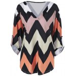 Plus Size Zigzag Adjustable Sleeve Tee deal