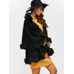 cheap Faux Fur Edge Poncho Cardigan