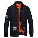 D Ring Stand Collar Zip Up Graphic Jacket deal
