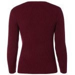 cheap Crew Neck Knit Ribbed Sweater