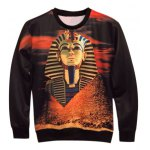 Crew Neck 3D Pharaoh Printed Long Sleeve Sweatshirt