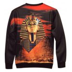 cheap Crew Neck 3D Pharaoh Printed Long Sleeve Sweatshirt