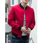cheap Pocket Snap Button Up Bomber Jacket