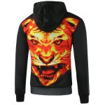 cheap Fierce Fire Tiger Printed Pullover Hoodie