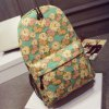 Zippers Clock and Floral Print Canvas Backpack deal