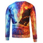 cheap Fire Animal 3D Printed Crew Neck Sweatshirt