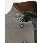 Metal Button Embellished Stand Collar Woolen Coat photo