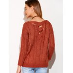 Cross Back V Neck Drop Shoulder Sweater for sale