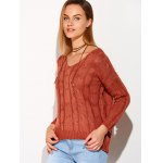 Cross Back V Neck Drop Shoulder Sweater deal