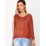 cheap Cross Back V Neck Drop Shoulder Sweater