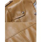 Button Up Stand Collar Epaulet PU Leather Jacket deal