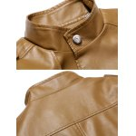 cheap Button Up Stand Collar Epaulet PU Leather Jacket