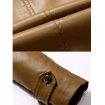 Button Up Stand Collar Epaulet PU Leather Jacket for sale