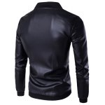 cheap PU Leather Stand Collar Zip Up Jacket
