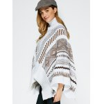 Jacquard Asymmetric Poncho Sweater for sale