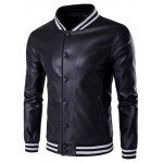 Stripe Rib Splicing PU Leather Stand Collar Jacket 11027