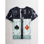 cheap Funny 3D Playing Card Print Round Neck Short Sleeves T-Shirt For Men
