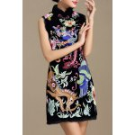 Stand Collar Floral Embroidered Dress for sale