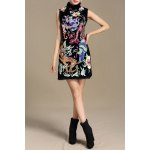 best Stand Collar Floral Embroidered Dress