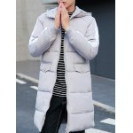 cheap Contrast Paneled Rib Cuff Zip Up Hooded Padded Coat