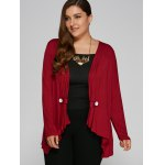 Plus Size Button Embellished Asymmetrical Cardigan