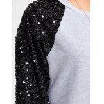 best Sequins Spliced Raglan Sleeve Sweatshirt