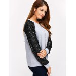 Sequins Spliced Raglan Sleeve Sweatshirt deal