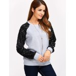 cheap Sequins Spliced Raglan Sleeve Sweatshirt