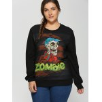 cheap Plus Size Halloween Skulls Print Sweatshirt