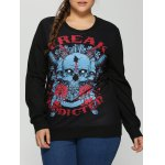 Plus Size 3D Rose Skulls Halloween Sweatshirt