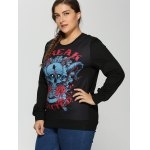 Plus Size 3D Rose Skulls Halloween Sweatshirt deal