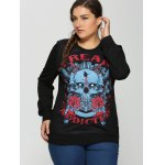 cheap Plus Size 3D Rose Skulls Halloween Sweatshirt