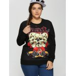 cheap Plus Size 3D Skulls Print Halloween Sweatshirt