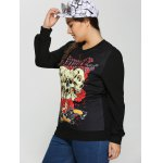 Plus Size 3D Skulls Print Halloween Sweatshirt deal