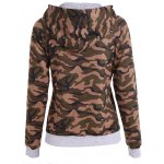 cheap Pullover Camo Print Drawstring Hoodie