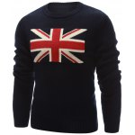 cheap Flag Pattern Crew Neck Flat Knitted Sweater