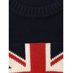 Flag Pattern Crew Neck Flat Knitted Sweater for sale