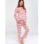 cheap Deer Print Christmas Pajamas Set